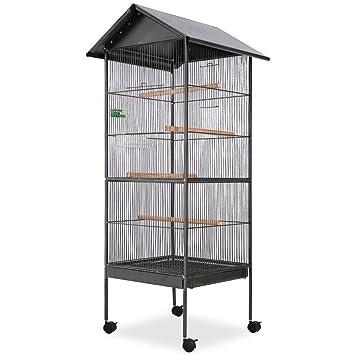 Festnight Jaula Grande de Pájaros con Techo Negro Con 1 Bandeja de Alimentación y 1 Dispensador de Agua 66 x 66 x 155 cm: Amazon.es: Productos para mascotas