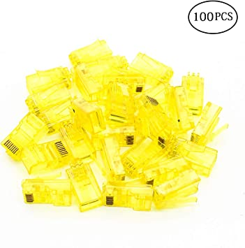 RJ45 Connectors,Cat 6 for Stranded UTP Cable-100 Pack,Green GBIS RJ45 Plugs Cat6 RJ45 Modular Plugs
