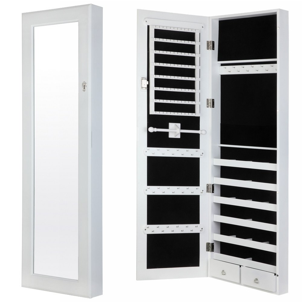 Homegear Modern Door/Wall Mounted Mirrored Jewelry Cabinet Organizer