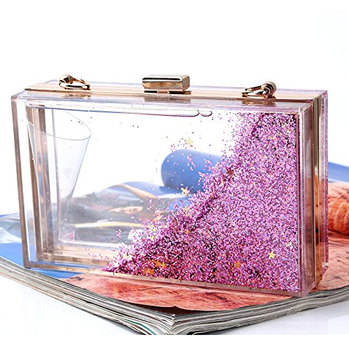 Translucent Quicksand Rabbit Lovely Evening To Color Creative Sequins Colour From Choose Multi Women's Acrylic Purple Purple Sparkling Bag rISXq