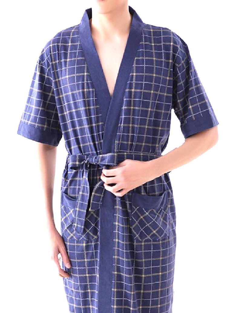 Coolred-Men Large Size Longline Fine Cotton Graphics Sleep Robe 2 XL