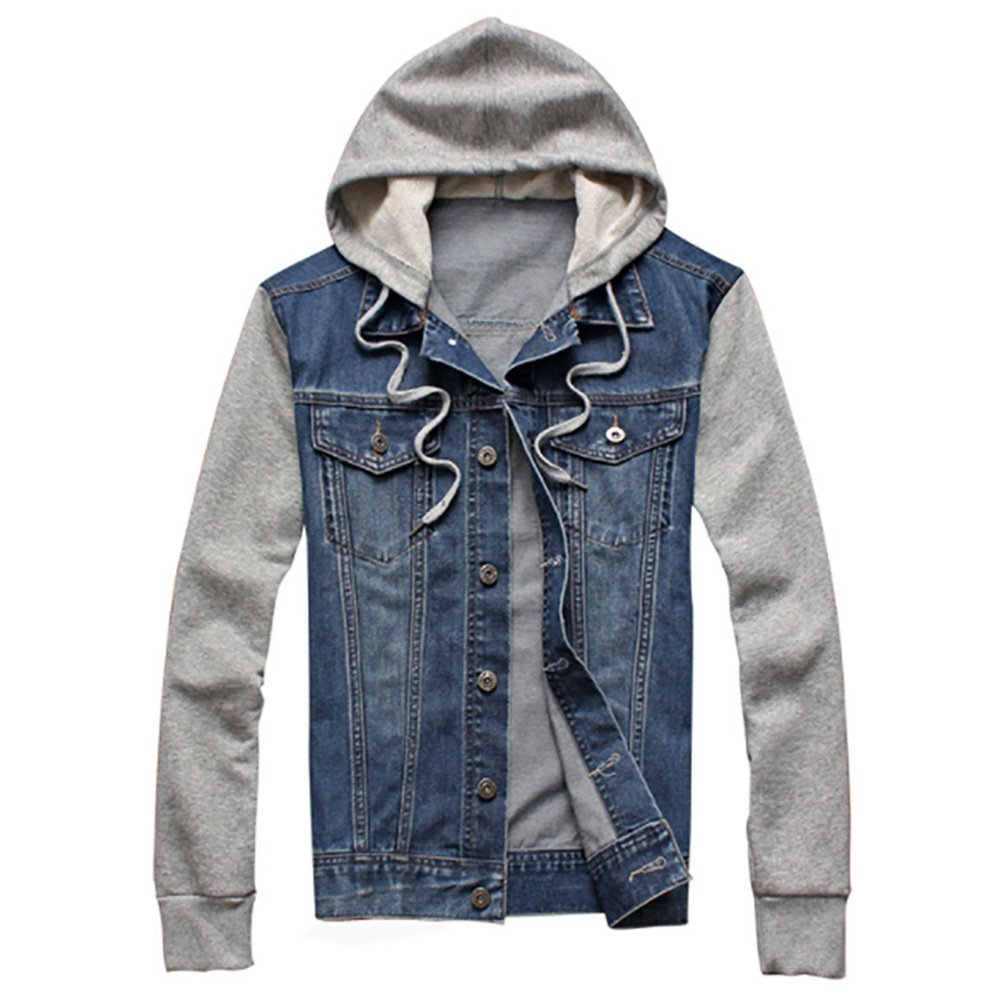 e1c6222b9d38 MENS HOODED DENIM JACKET --- Classic denim jacket coat equipped with a  removable button-closure cotton hood