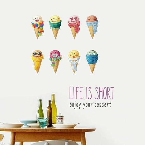 BIBITIME Funny Cartoon 8 Emoji Ice Cream Wall Decals Kids Room Decor  Stickers Vinyl Ice-cream Cones Sayings LIFE IS SHORT enjoy your dessert ...