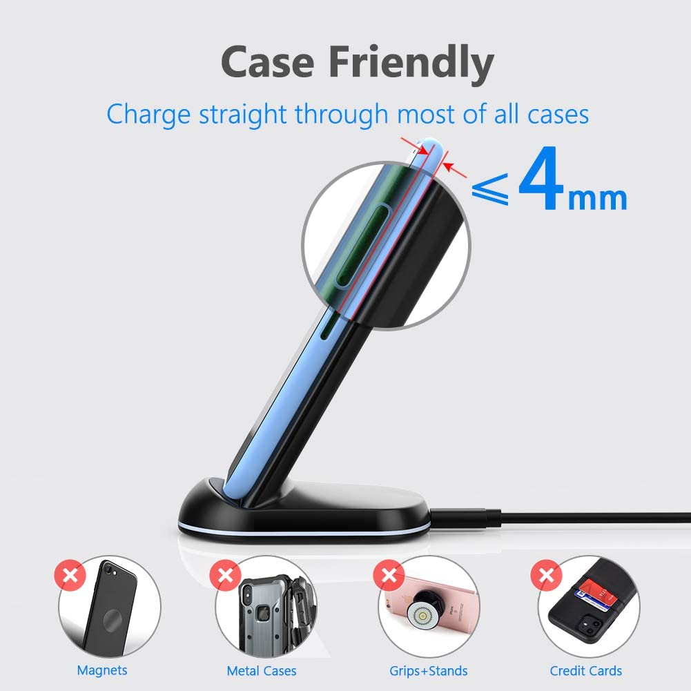 Yootech Wireless Charger 10W Max Qi-Certified Wireless Charging Stand with QC3.0 AC Adapter,Compatible with iPhone SE 2020//11//11 Pro//11 Pro Max//XR//XS Max//XS//X Galaxy S20//Note 10//Note 10 Plus//S10//S9