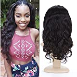 BeliHair Human Hair Wigs 130% Density Brazilian Virgin Natural Body Wave Full Lace Wig with Baby Hair for Black Woman,16 inch