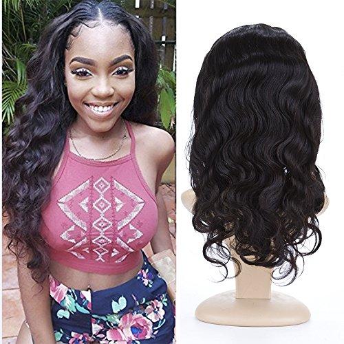BeliHair Human Hair Wigs 130% Density Brazilian Virgin Natural Body Wave Full Lace Wig with Baby Hair for Black Woman,16 inch by Belihair