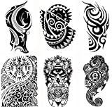 Gilded Girl 6 Large Tribal Temporary Tattoos Realistic Designs Arm/Back/Shoulder Waterproof Body Art Removable Black Tattoo