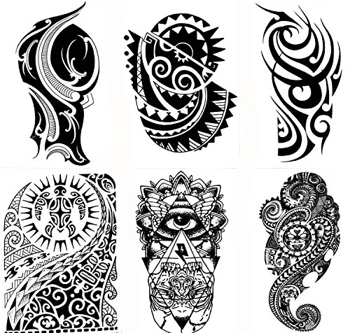 Gilded Girl 6 Large Tribal Temporary Tattoos Realistic Designs Arm/Back/Shoulder Waterproof Body Art Removable Black Tattoo by Gilded Girl