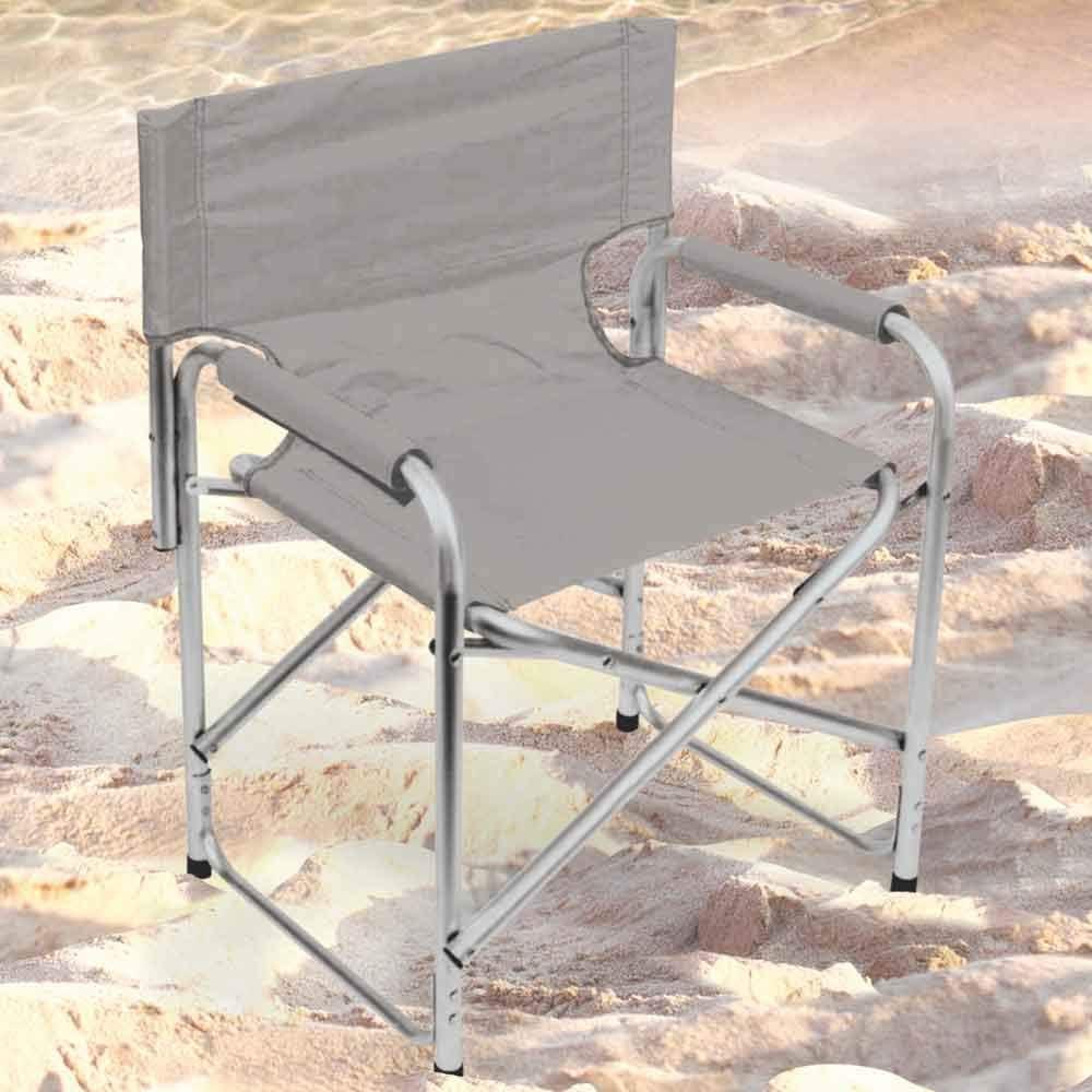 Azzurro BAKAJI Sedia Regista Pieghevole Modello Elite Struttura in Alluminio e Tessuto Oxford Spiaggia Campeggio Blu