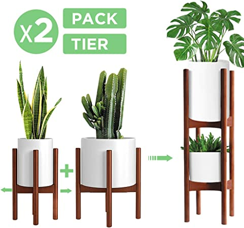 Amazon Com 2 Pack Indoor Plant Stands 2 Tier Tall Plant Stand