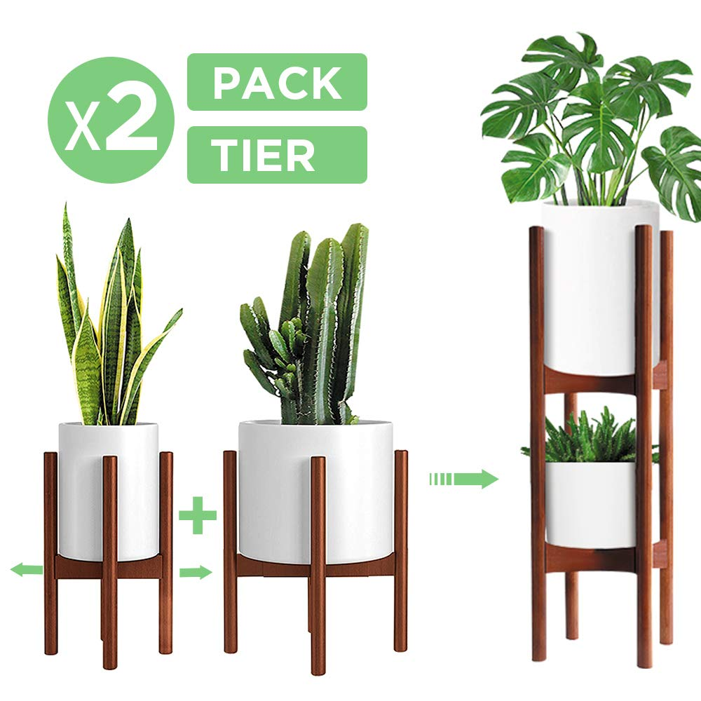 2 Pack Mid Century Modern Plant Stands, Adjustable Width 8 to 12 inches, Indoor Bamboo Plant Stand with 2 Tier Use Method (Pot & Plant Not Included)