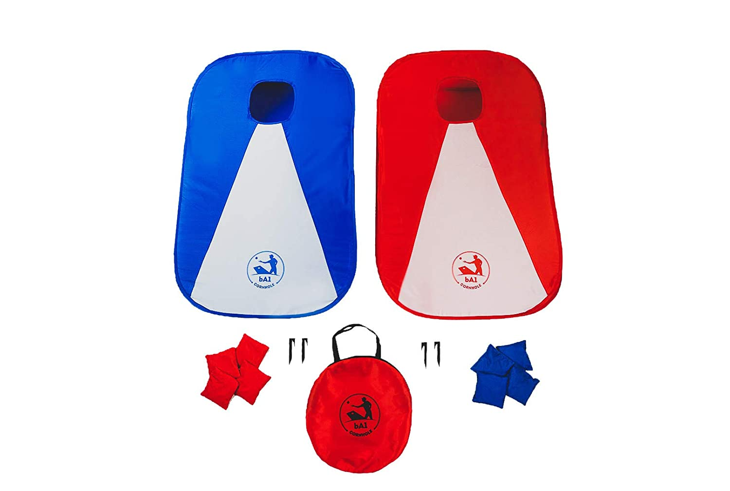 bA1 Cornhole - All Weather Collapsible Portable Cornhole Game Set - 2 Boards + 8 Beanbags + Carrying Case + Stakes (3' x 2') Now Play Anywhere, Anytime, Even on The Go - Indoor Outdoor! WeWin Sports