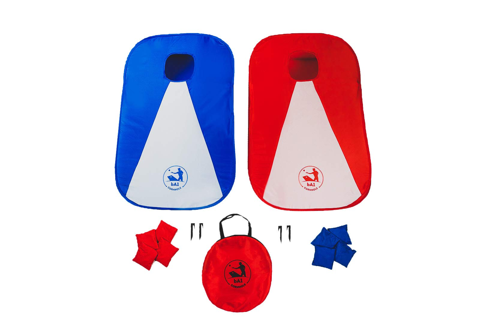 bA1 Cornhole - All Weather Collapsible Portable Cornhole Game Set - 2 Boards + 8 Beanbags + Carrying Case + Stakes (3' x 2') Now Play Anywhere, Anytime, even on the Go - Indoor or Outdoor!