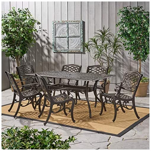 Garden and Outdoor Christopher Knight Home Hallandale Outdoor Sarasota Cast Aluminum Rectangular Dining Set, 7-Pcs Set, Hammered Bronze patio dining sets