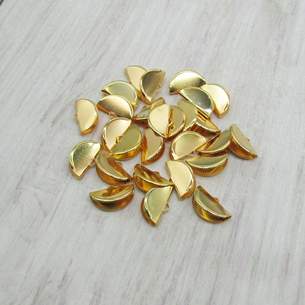 PEPRMROE 100 Pcs 20mm Gold Half Round Ribbon Crimps Cord End Caps Clasps Clamp Cord Cap Tip for DIY Jewelry Making