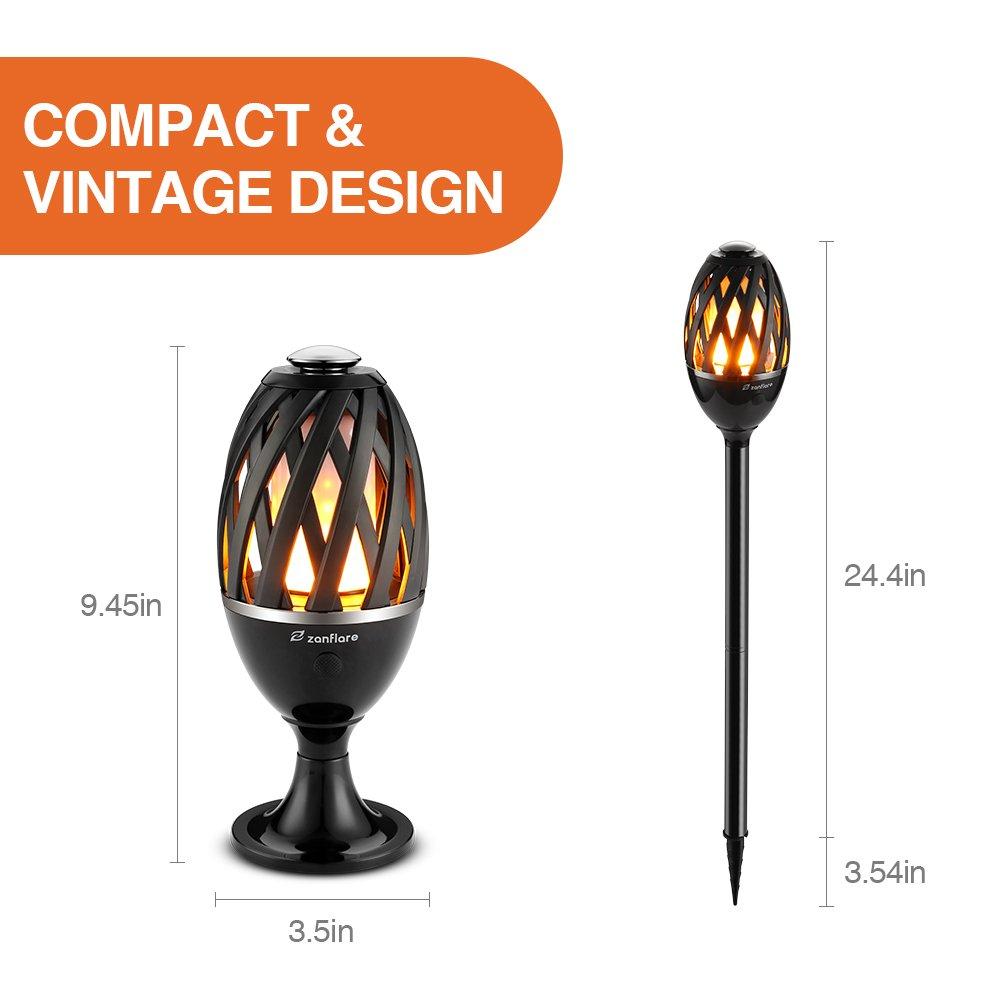 Zanflare Lampe Ambiance avec Effet de Flamme Enceinte Bluetooth sans Fil USB Rechargeable Etanche IP65 Lampe Design Moderne Lampe de Chevet avec Haut-Parleur