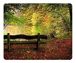 Empty Bench In Fall Scene Mouse Pad - Durable Office Accessory Desktop Laptop MousePad and Gifts Gaming mouse pads