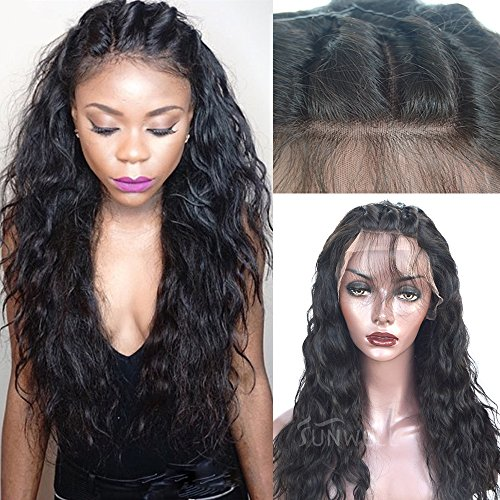 Human Hair Wigs for Black Women Glueless Lace Front Wigs with Baby Hair Brazilian Virgin Hair Water Wave 130% Density Natural Color 16inch by SUNWELL