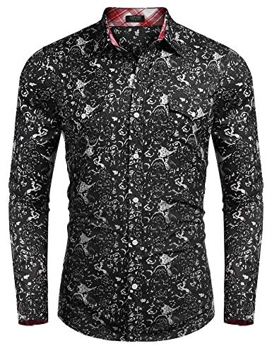 - COOFANDY Men's Floral Button Down Shirt Long Sleeve Slim Fit Casual Paisley Dress Shirt (Small, 7559-black)