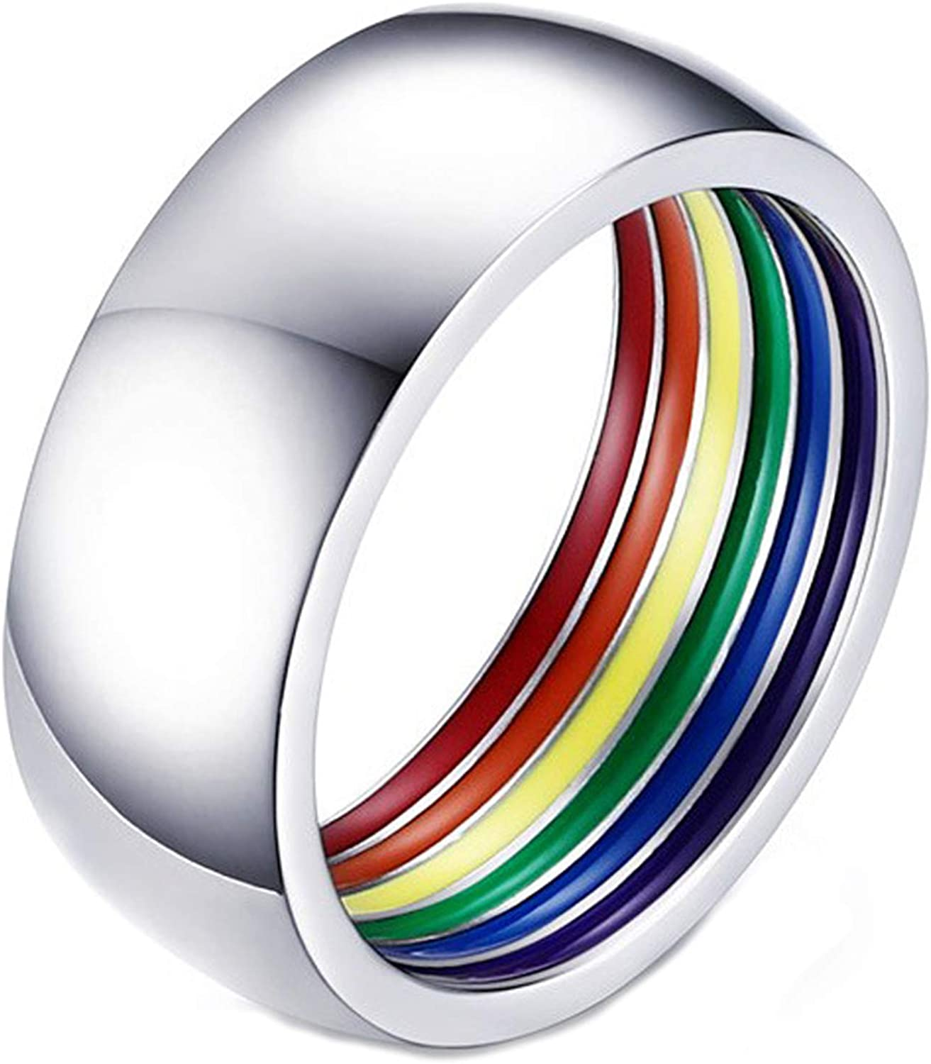 Nanafast 8mm LGBT Gay Pride Ring Rainbow Enamel Stainless Steel LGBTQ Bands for Men