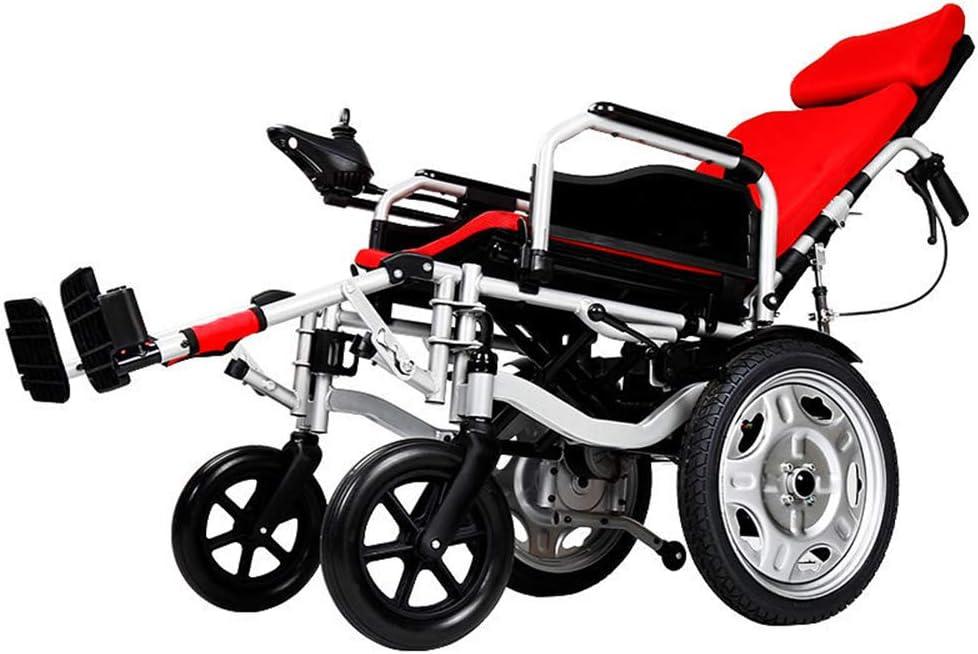 Silla de ruedas eléctrica liviana, manual híbrido plegable y silla eléctrica en una silla de ruedas con neumático antivuelco para usuarios mayores discapacitados discapacitados,Rojo