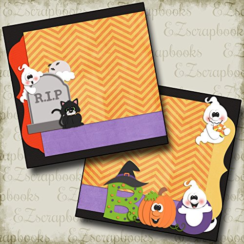 BOO Non-Photo-Mat - Premade Scrapbook Pages - EZ Layout -