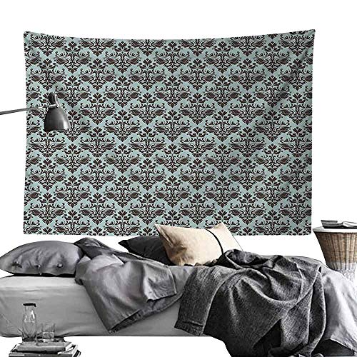 Commemorative Tapestry Damask Decor Damask Shapes Motif Western Modular Leaves and Rayon Curving Lines Creative Floral Design Bedroom Home Decor W80 x L60 Teal - Modular New Light York Outdoor