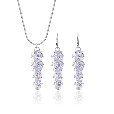 eedce19c0 Swarovski Crystal Bridal Jewelry Set Sterling Silver Luxurious Round Cubic  Zirconia CZ Floral Leaf Cluster Linear