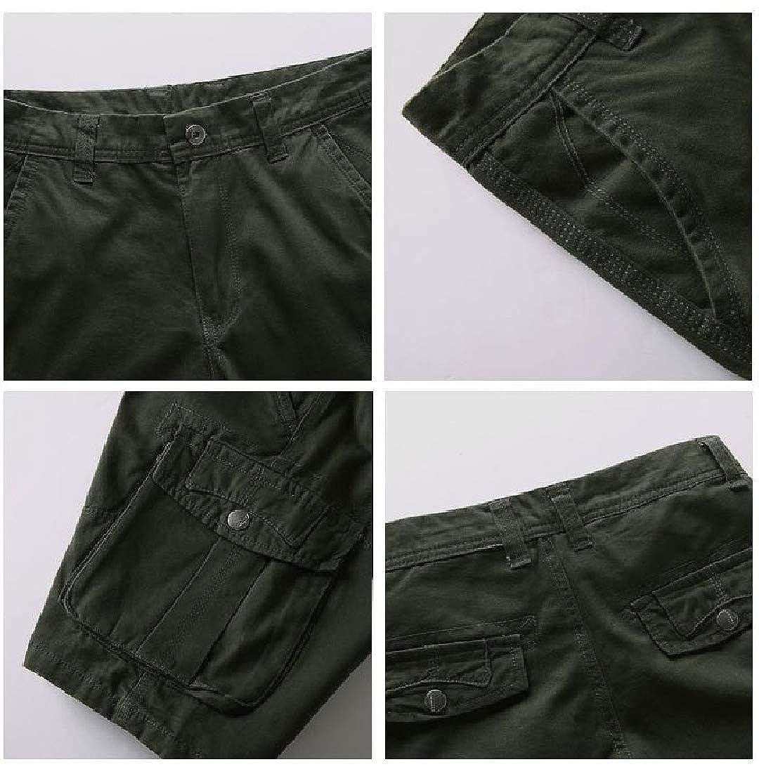 Zimaes-Men Short Pants Straight Relaxed Pockets Cotton Combat Karate Pants
