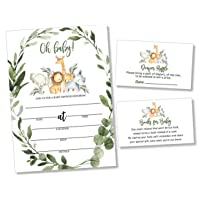 25 Wreath Safari Greenery Baby Shower Invitations (Large Size 5X7 inches), Diaper Raffle Tickets, Baby Shower Book Request Cards with Envelopes Jungle Animal Invites for Boy Neutral Baby Showers