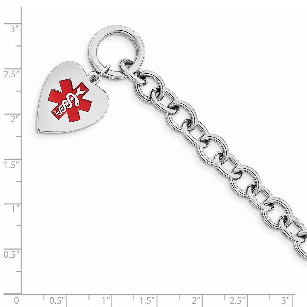 Solid 925 Sterling Silver Engraveable Enamel Heart Medical ID Bracelet (18mm) by Sonia Jewels (Image #2)