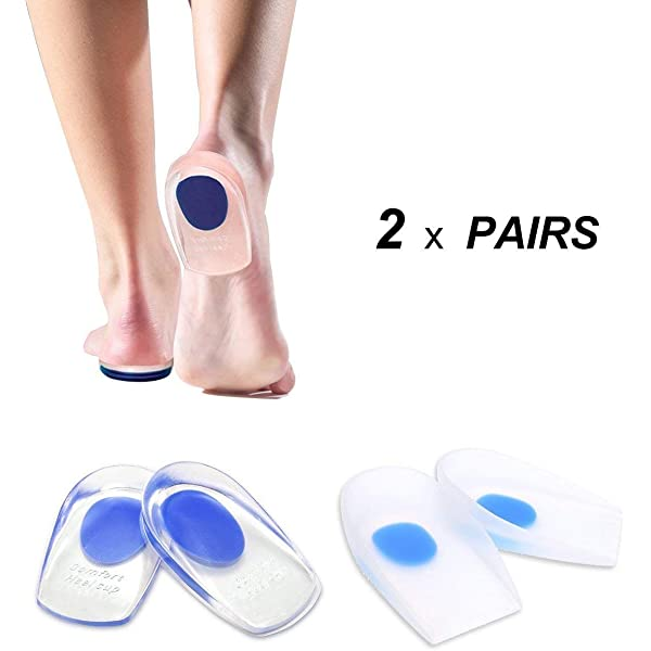 2x Heel Support Pad Cup Gel Silicone Shock Cushion Orthotic Insole Plantar Care