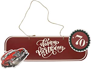 70th Birthday Decorations Rope Signs - Directional Welcome Signs for men and dad, Classic car theme Party door Decoration Kit - set of 6