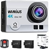 Camaras Deporte 4K WiMiUS Q3 WIFI Ultra HD Impermeable DV Videocámara 16MP 170 Grados gran Angular 2 Pulgadas LCD Screen / 2.4G control Remoto / 2 Baterías Recargables-Plata