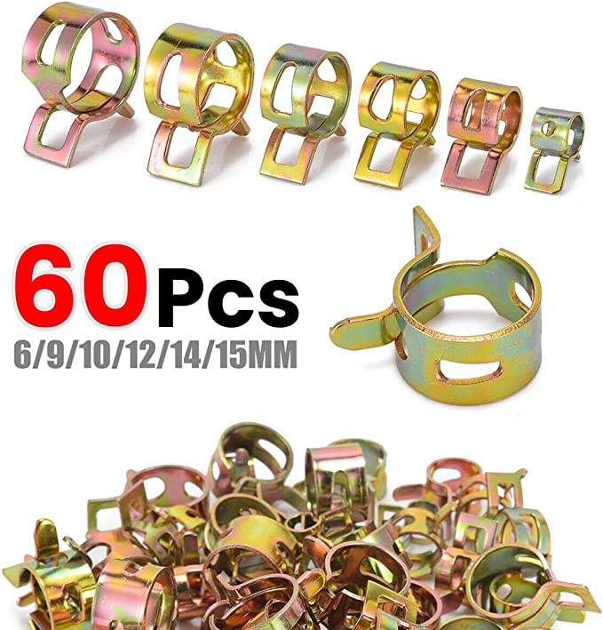Fastener /& Clip 50pcs 1//4 6mm High Quality Spring Clip Fuel Oil Line Silicone Vacuum Hose Clamp