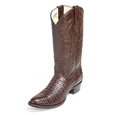 aab296ac080 LOS ALTOS BOOTS Mens Caiman Belly Round Toe Western Cowboy Boot Brown 10.5 D