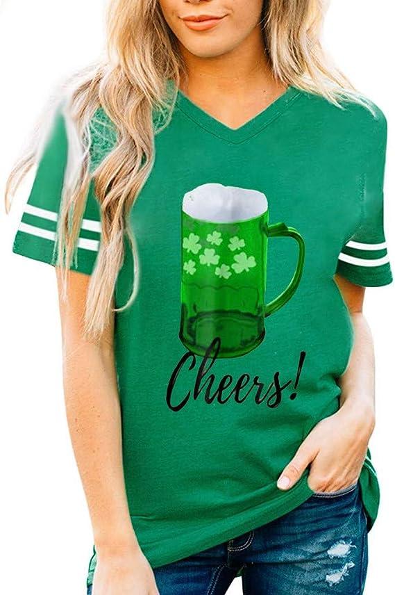 T-Shirt /à col en V Vert de Patricks Day Kaister Musculation D/ébardeur /à Manches Courtes Femme St