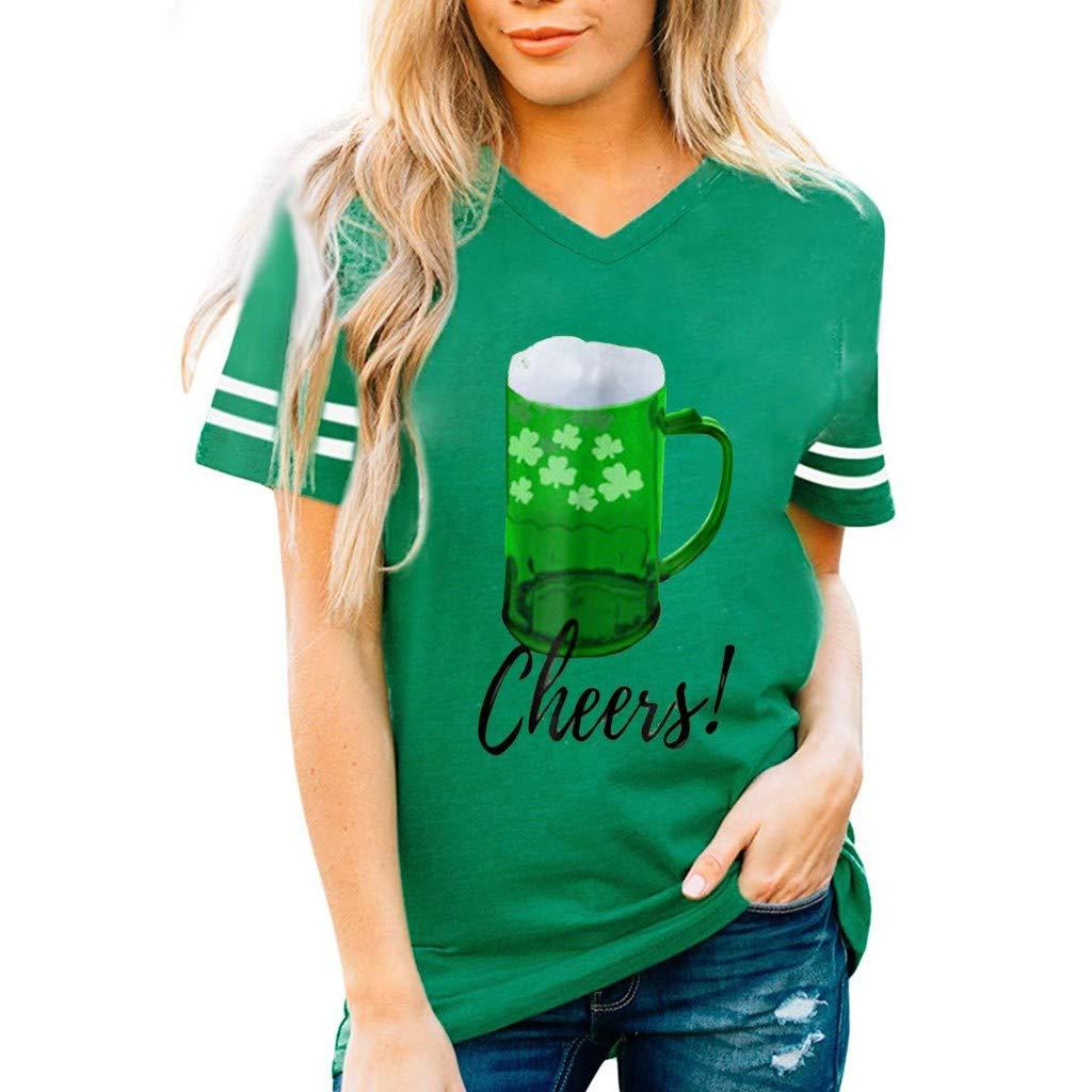 Women T-Shirt Sleeveless Stripe Short Sleeve ST. Patrick's Day Slim Fit V-Neck Blouse (M, Green)