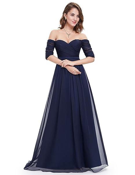 Reina Club Off el hombro mitad manga Prom vestido azul marino
