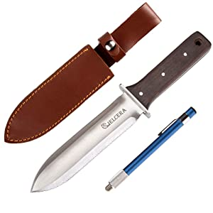 """CIELCERA 12"""" Hori Hori Garden Knife (Right Serrated Blade) with Free Diamond Sharpening Rod, Ideal Gardening Digging Landscaping Weeding Tool, with Thick Sheath and a Fine Gift Box"""