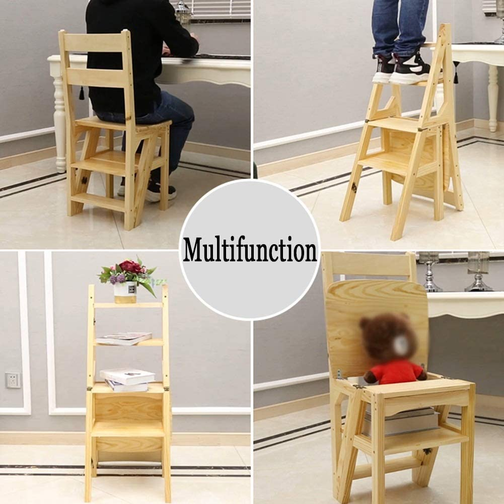 Color : Black JIAJUAN Stool Pine Wood Home Step Ladder Stool Indoor Non-Slip Multi-Functiona Garden Kitchen Library Ladders Chair 4 Colors Step Ladder