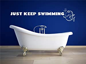 Just Keep Swimming Wall Decal - Home Decor For the Playroom, Child Room, or Bathroom, Wall Decals, Party Decorations