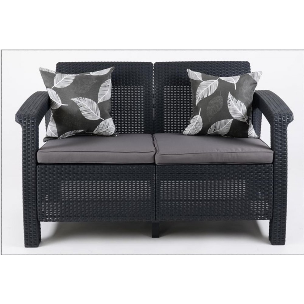 justhome corfu sofa couch gartenm bel rattan 2 sitzer sofa anthrazit grau g nstig online kaufen. Black Bedroom Furniture Sets. Home Design Ideas