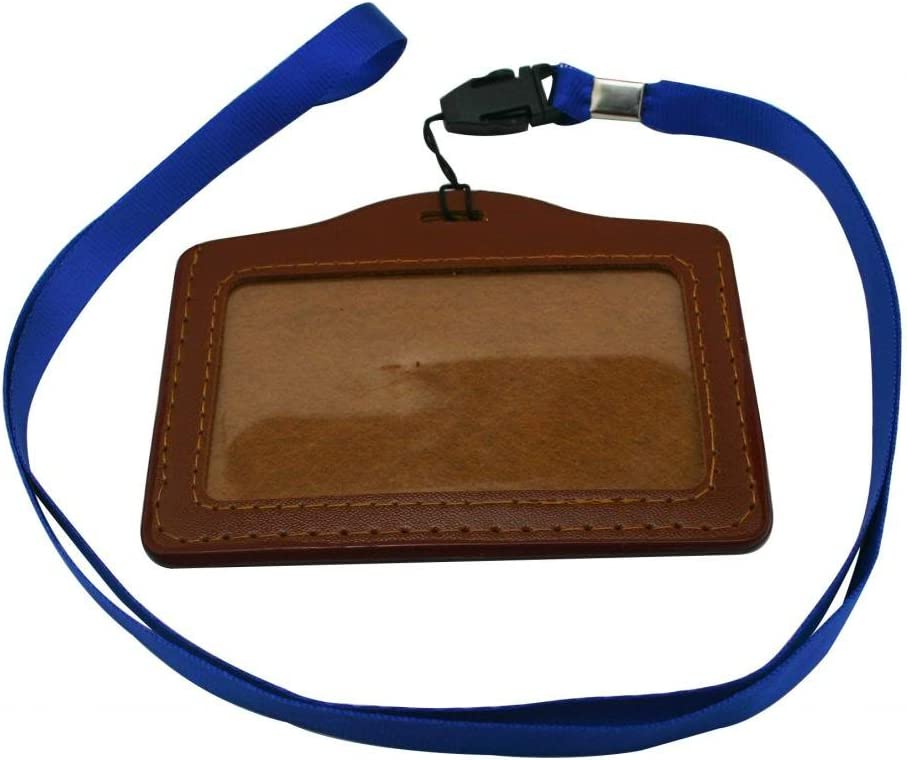 Ailisi Horizontal Faux Leather Card Holder with Neck Strap Lanyard Pack of 10