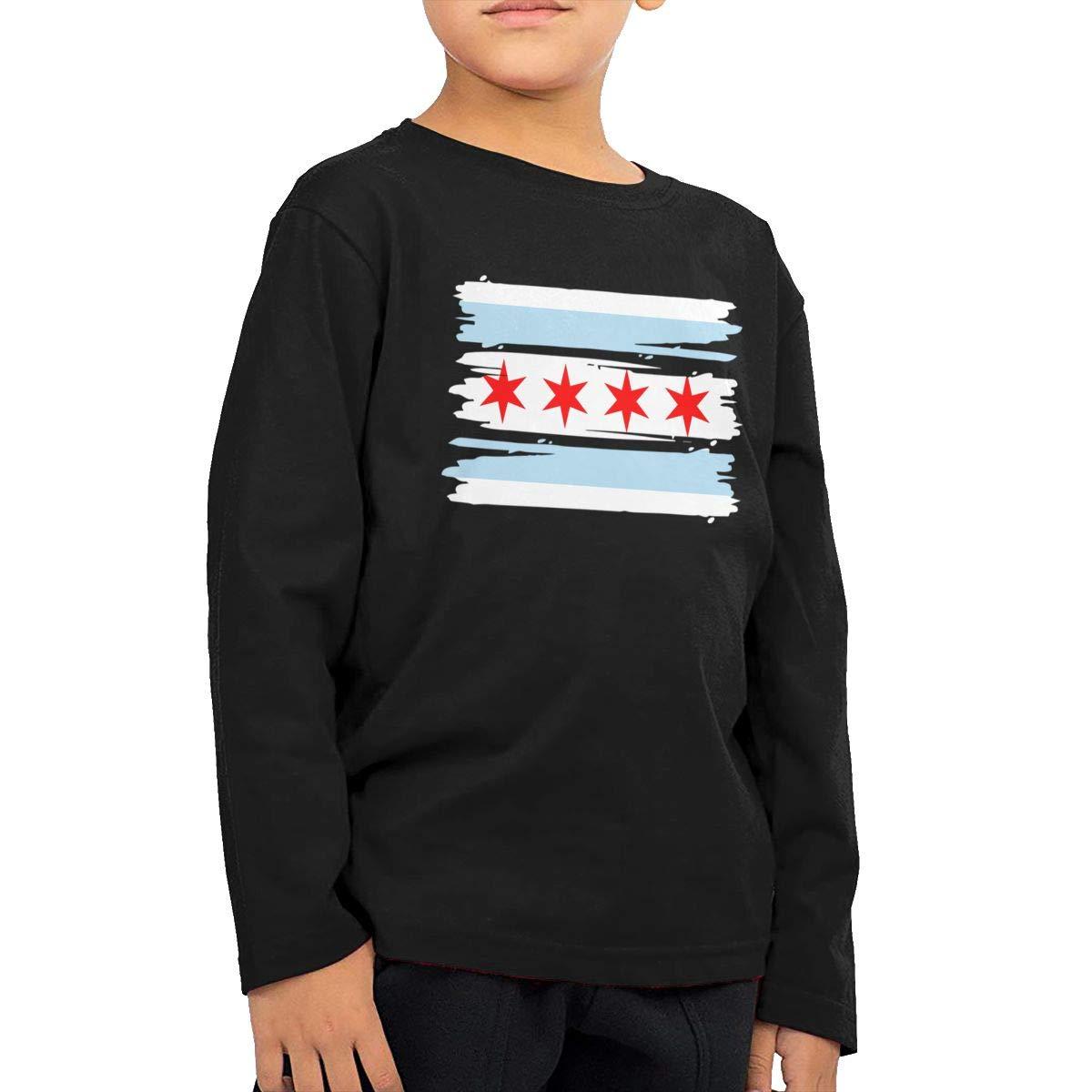 CERTONGCXTS Childrens Chicago Flag ComfortSoft Long Sleeve Shirt