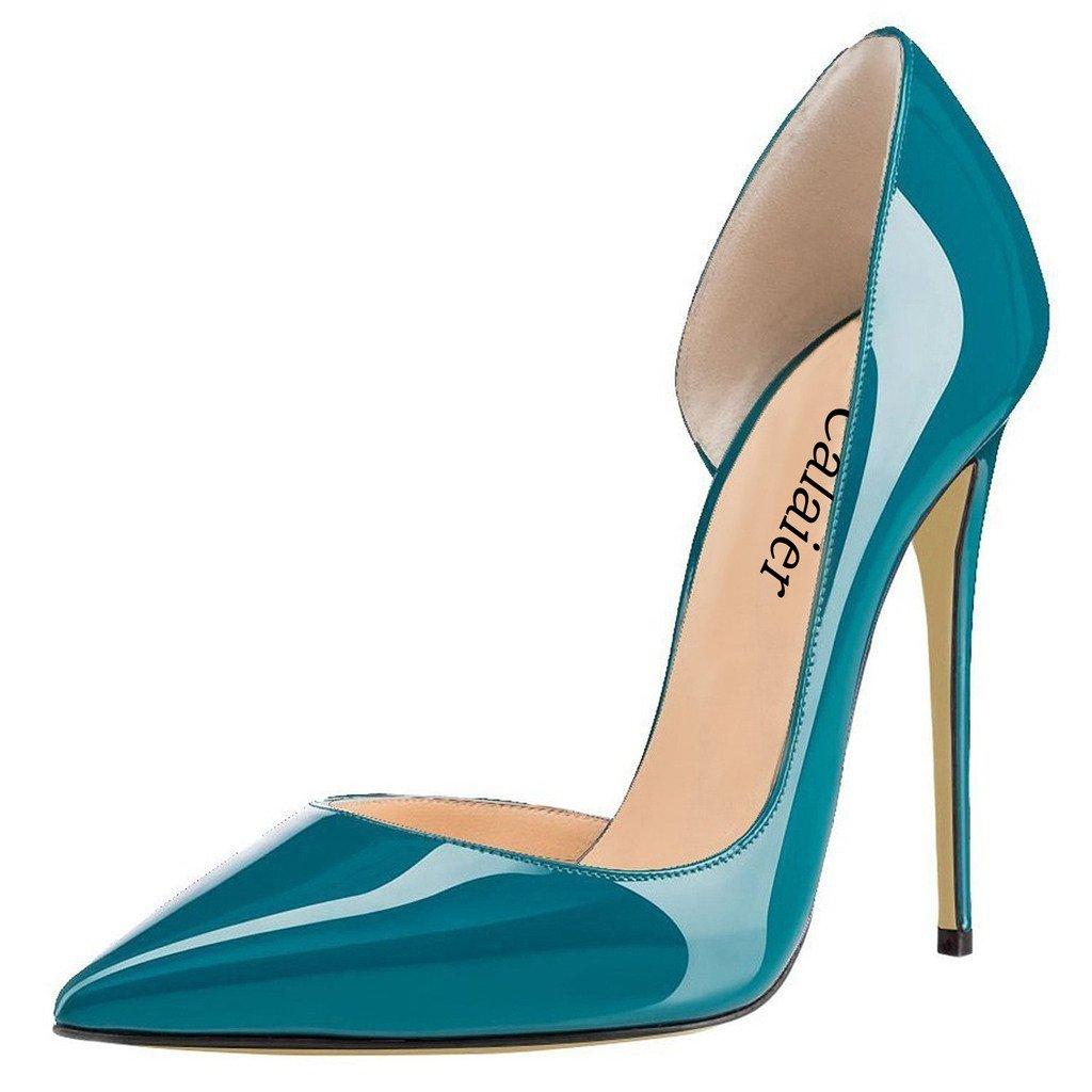 Calaier Mujer Cabecause Tacón De Aguja 12CM Sintético Ponerse Zapatos de tacón 39 EU|Verde