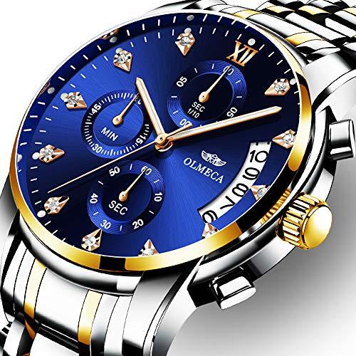 OLMECA Men's Watches Luxury Rhinestone Wristwatches Waterproof Fashion Quartz Watches Stainless Steel Band Elegant Gold Blue (Fashion Quartz Watch)