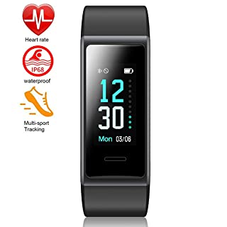 Mangcart 2019 New Model Fitness Tracker HR,Activity Tracker with Heart Rate Monitor Watch,IP68 Waterproof Pedometer with Step Counter Sleep Monitor Calorie Counter for Android & iPhone (Black)