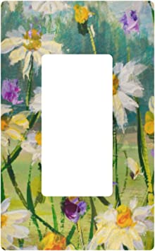 Decorative Light Switch Wall Plate Oil Painting Of White Daisies Flowers Switch Plate Cover Amazon Com