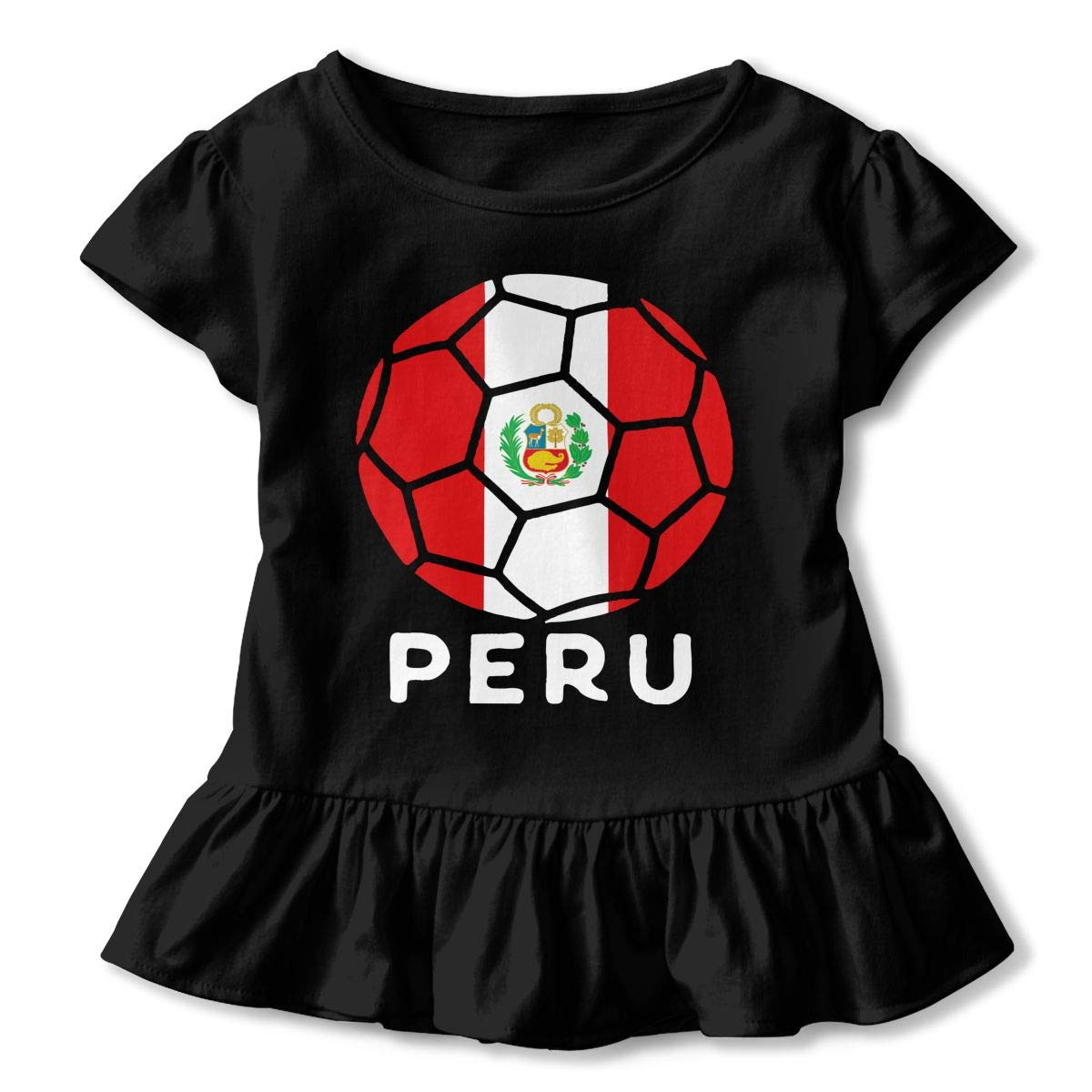 HYBDX9T Toddler Baby Girl Peru Flag Football Funny Short Sleeve Cotton T Shirts Basic Tops Tee Clothes